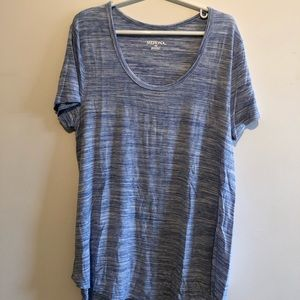 merona blue wash scoop neck top